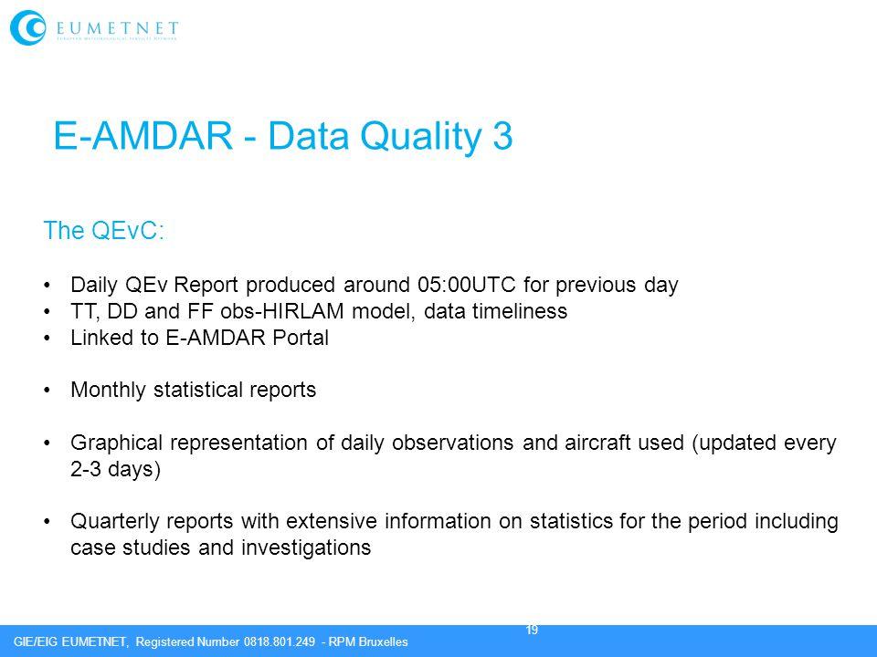 E-AMDAR - Data Quality 3 The QEvC: