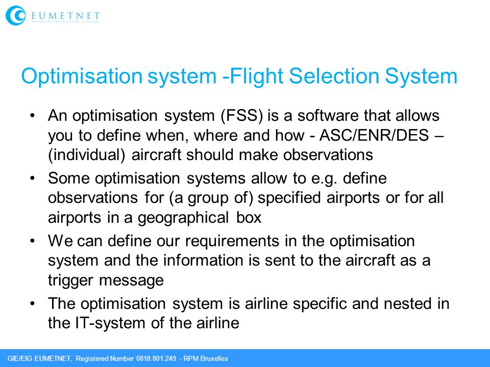 Optimisation system -Flight Selection System