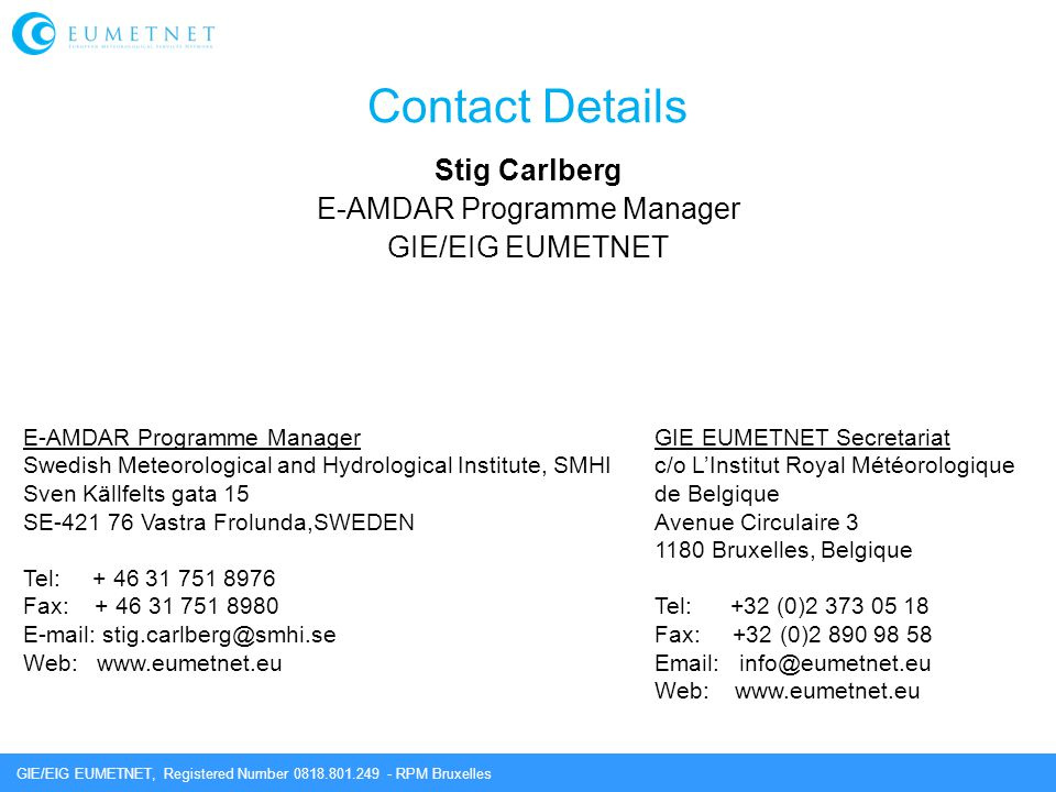 Stig Carlberg E-AMDAR Programme Manager GIE/EIG EUMETNET