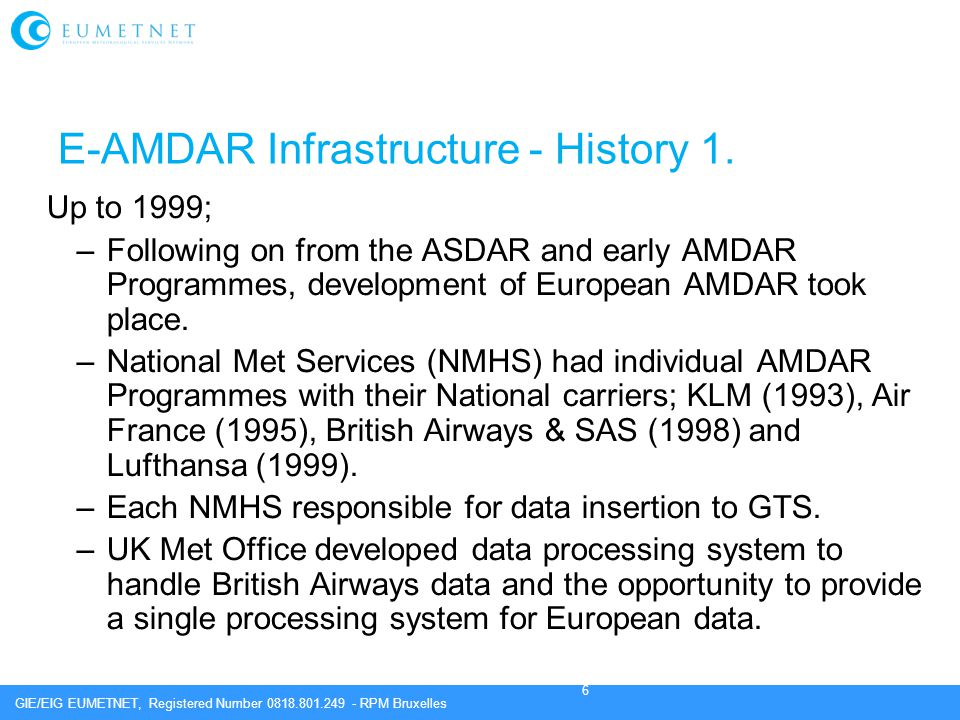 E-AMDAR Infrastructure - History 1.