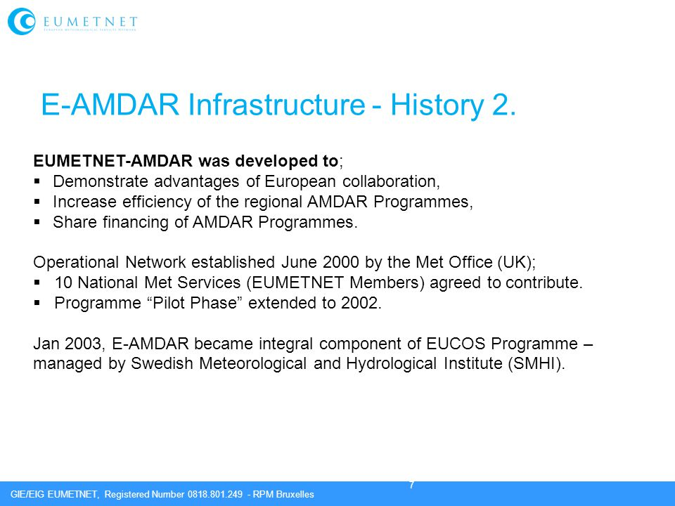 E-AMDAR Infrastructure - History 2.