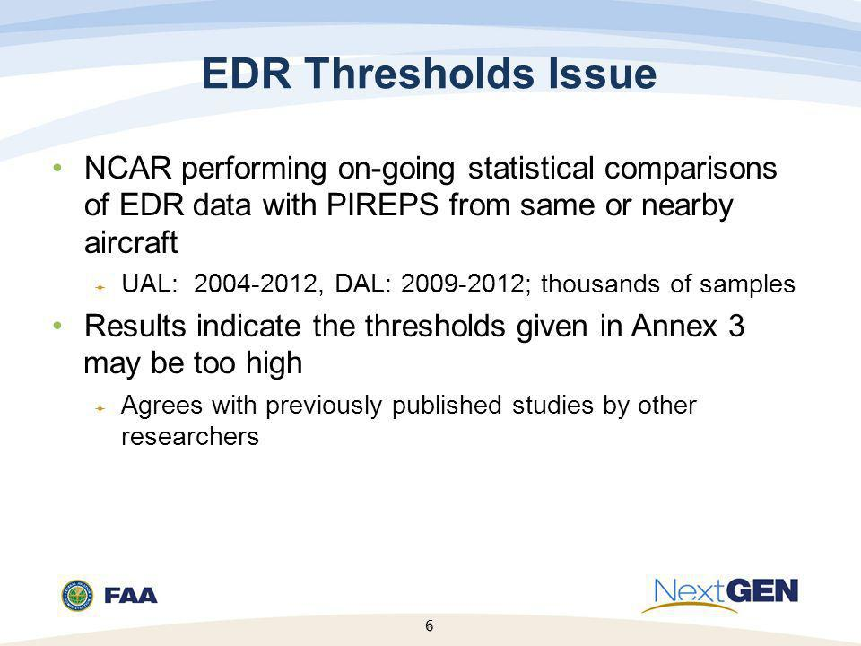 EDR Thresholds Issue NCAR performing on-going statistical comparisons of EDR data with PIREPS from same or nearby aircraft.