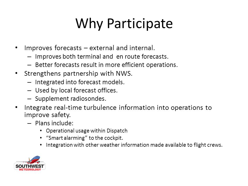 Why Participate Improves forecasts – external and internal.