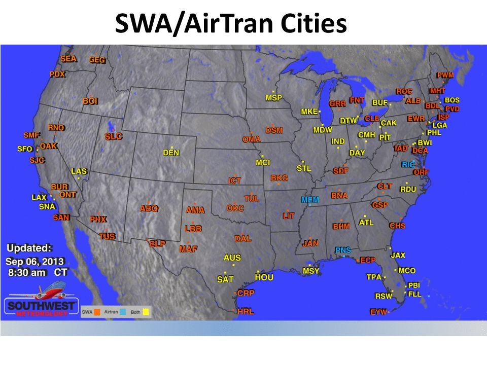 SWA/AirTran Cities