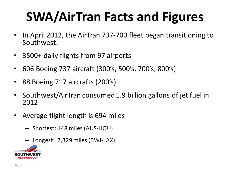 SWA/AirTran Facts and Figures