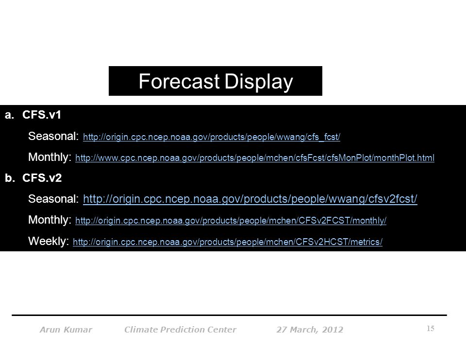 Forecast Display CFS.v1. Seasonal: http://origin.cpc.ncep.noaa.gov/products/people/wwang/cfs_fcst/