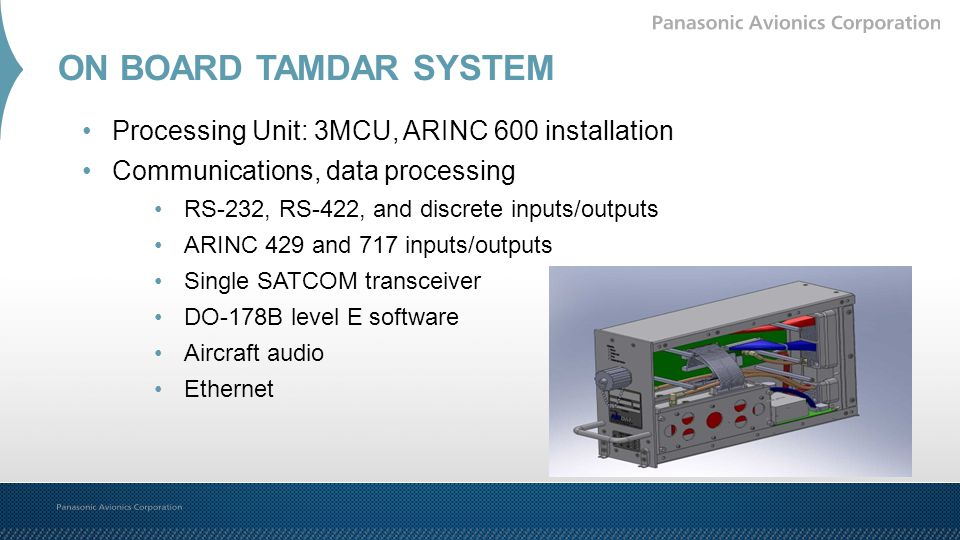 ON BOARD TAMDAR SYSTEM Processing Unit: 3MCU, ARINC 600 installation