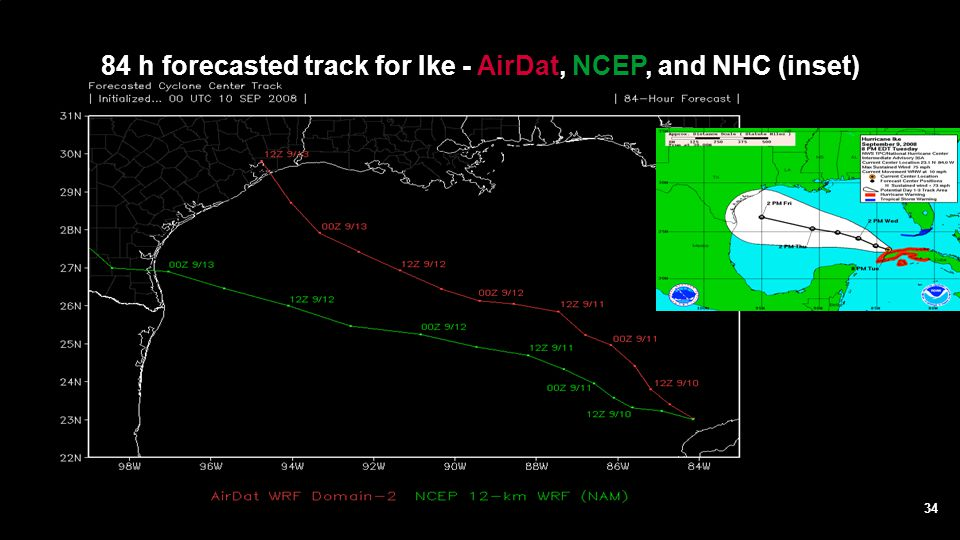 84 h forecasted track for Ike - AirDat, NCEP, and NHC (inset)
