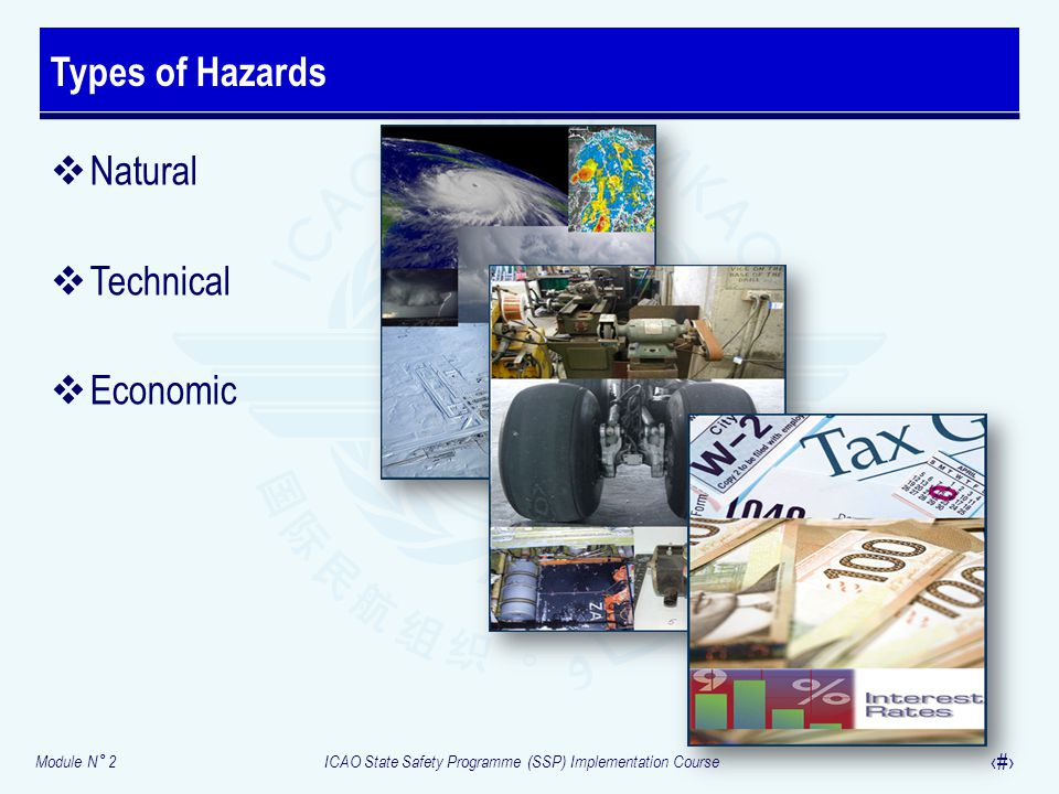 Types of Hazards Natural Technical Economic