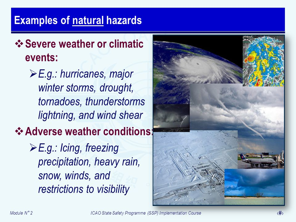 Examples of natural hazards