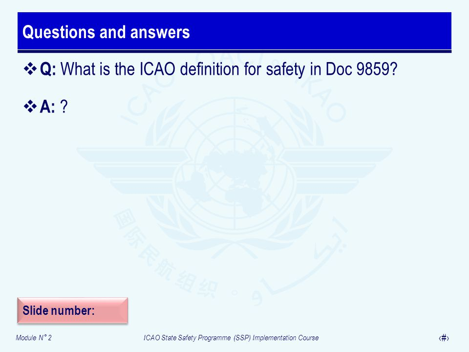 Q: What is the ICAO definition for safety in Doc 9859 A: