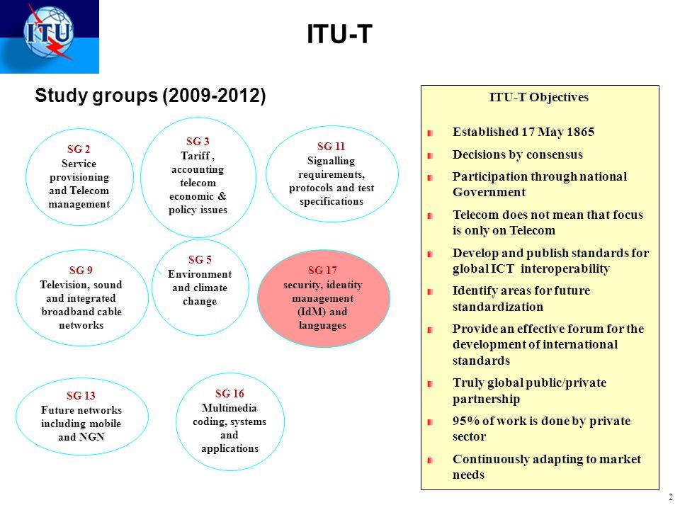 ITU-T Study groups (2009-2012) ITU-T Objectives