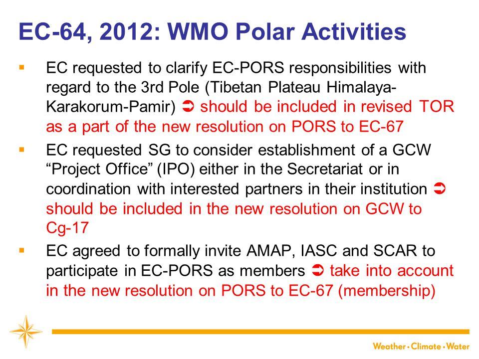 EC-64, 2012: WMO Polar Activities