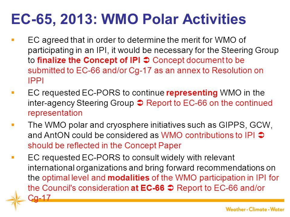 EC-65, 2013: WMO Polar Activities
