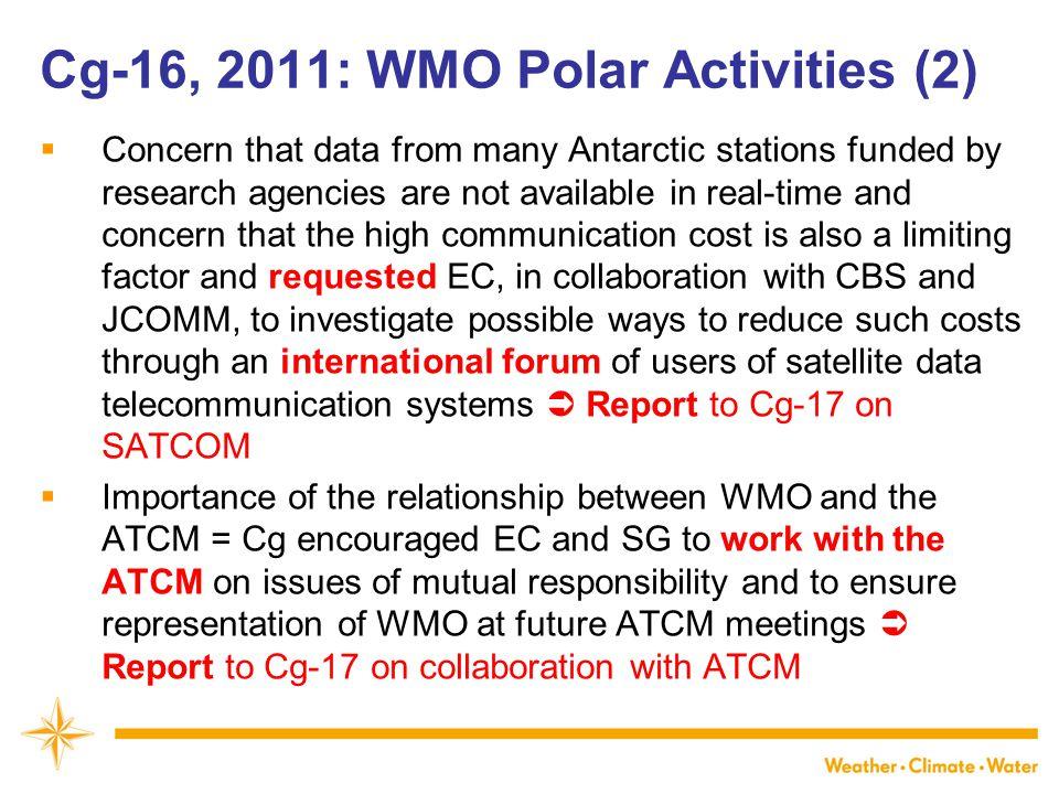 Cg-16, 2011: WMO Polar Activities (2)