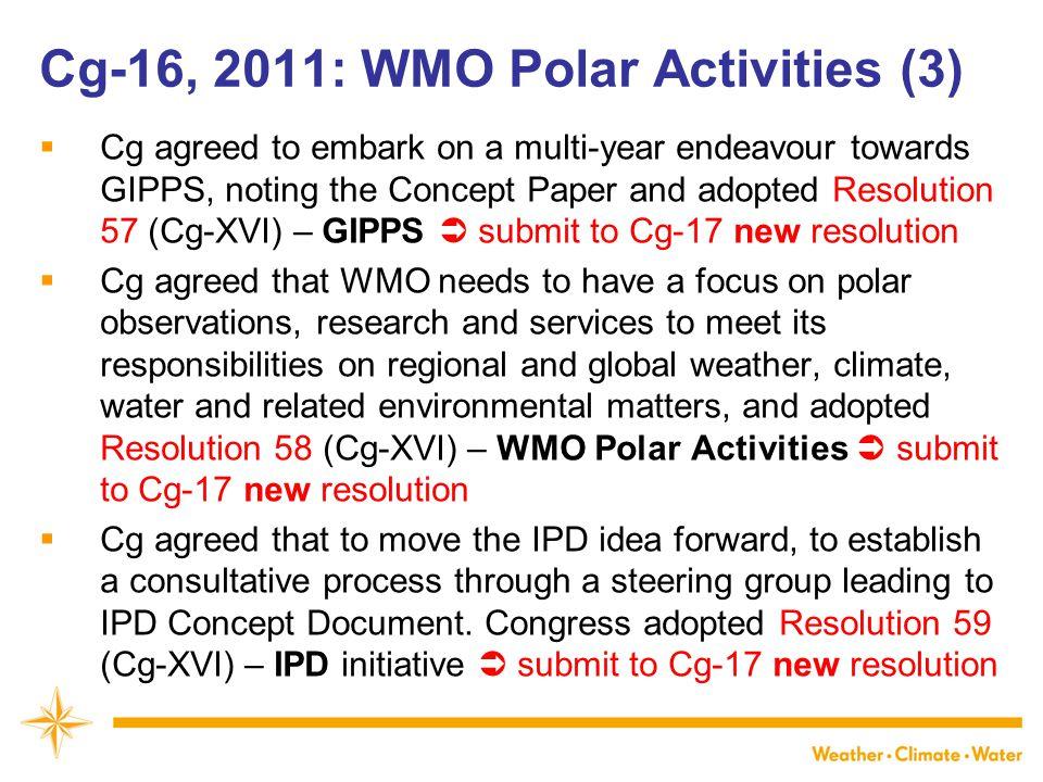 Cg-16, 2011: WMO Polar Activities (3)
