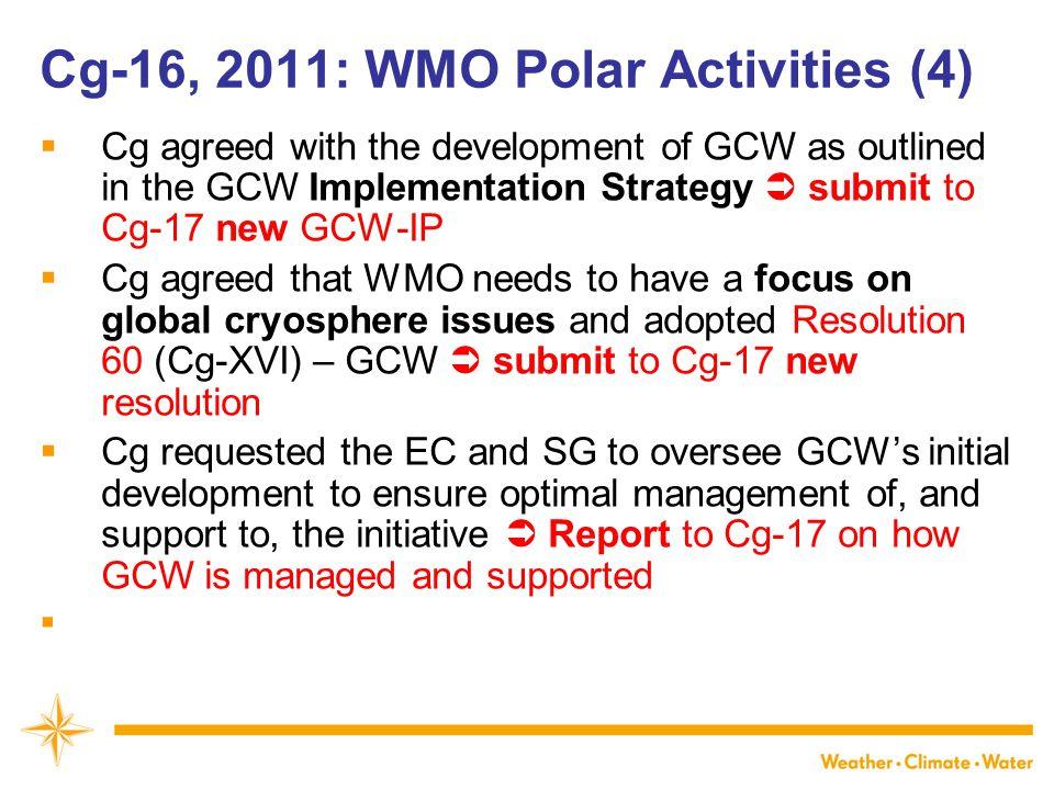 Cg-16, 2011: WMO Polar Activities (4)