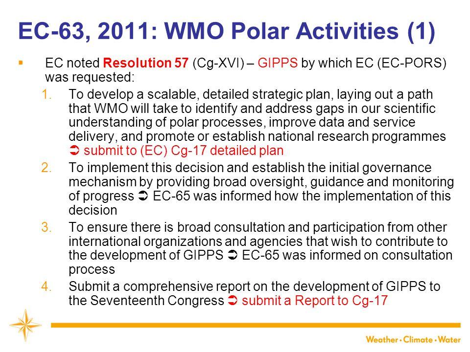 EC-63, 2011: WMO Polar Activities (1)