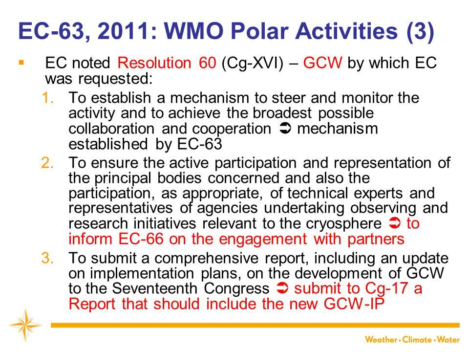 EC-63, 2011: WMO Polar Activities (3)