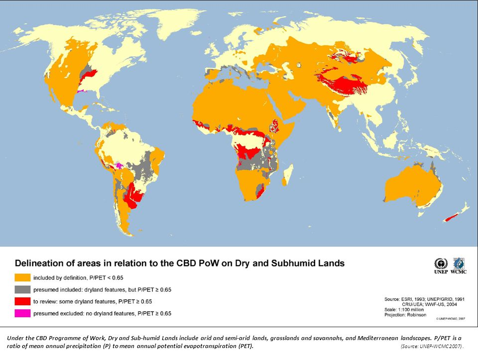 Under the CBD Programme of Work, Dry and Sub-humid Lands include arid and semi-arid lands, grasslands and savannahs, and Mediterranean landscapes. P/PET is a ratio of mean annual precipitation (P) to mean annual potential evapotranspiration (PET). (Source: UNEP-WCMC 2007) .