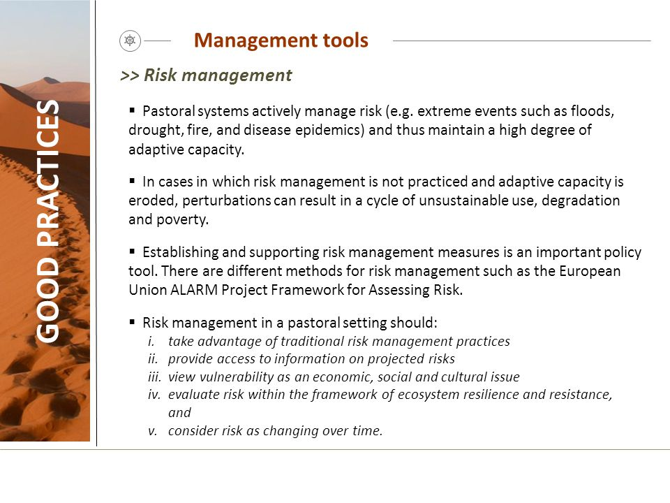 GOOD PRACTICES Management tools >> Risk management