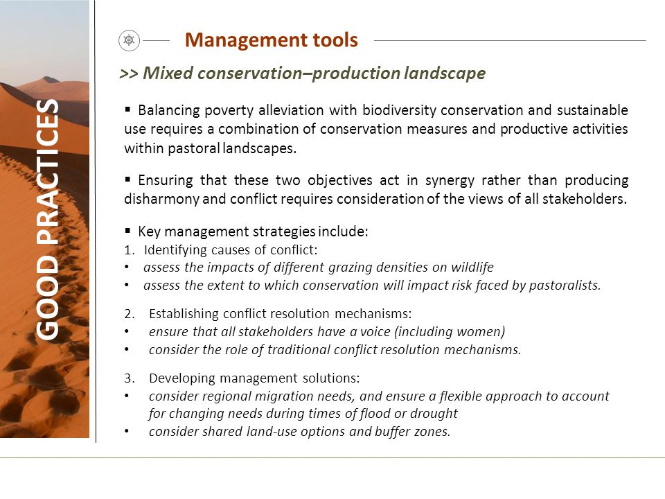 GOOD PRACTICES Management tools