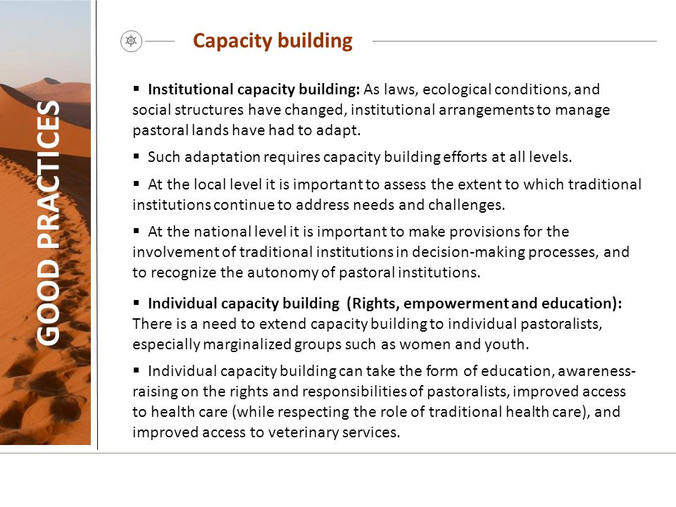 GOOD PRACTICES Capacity building
