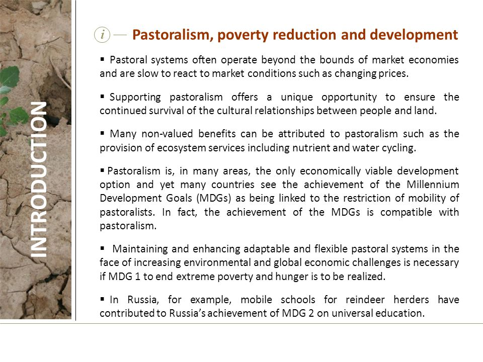 INTRODUCTION Pastoralism, poverty reduction and development i