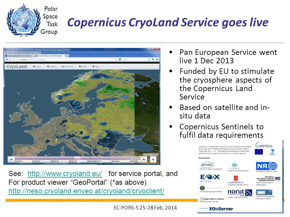 Copernicus CryoLand Service goes live