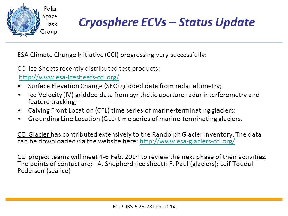 Cryosphere ECVs – Status Update