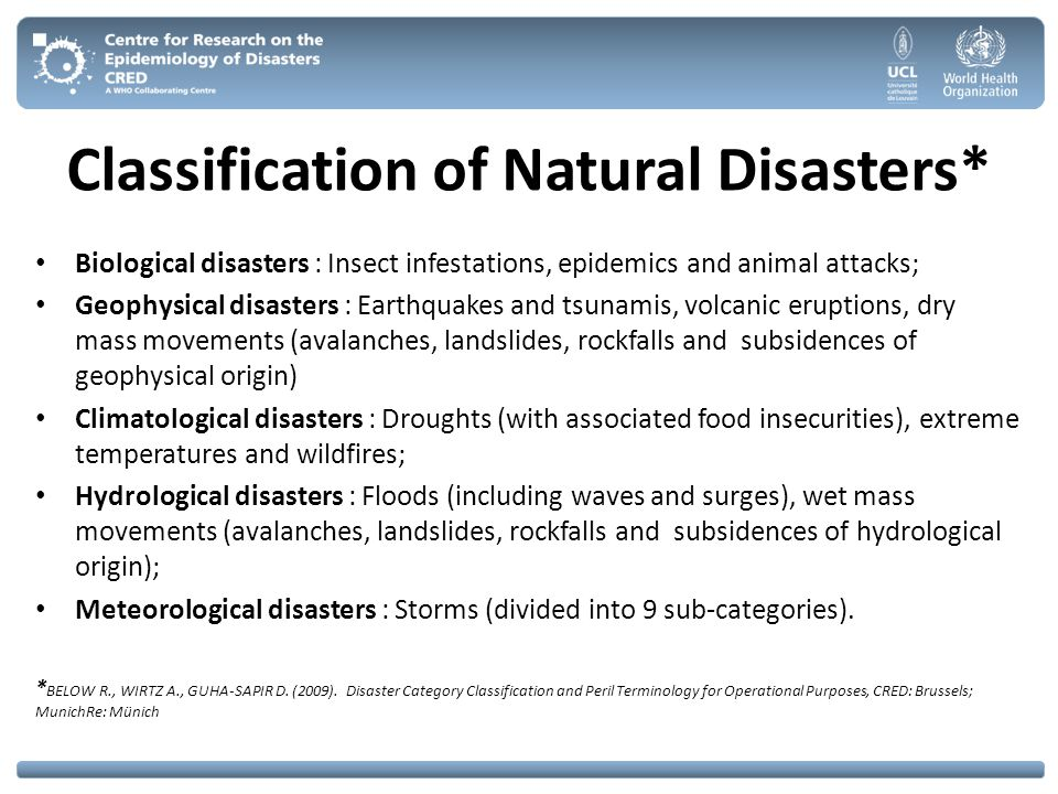 Classification of Natural Disasters*