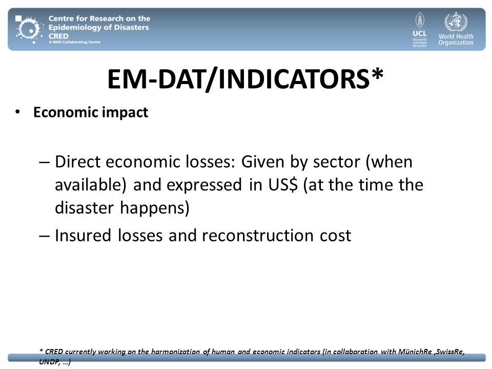 EM-DAT/INDICATORS* Economic impact. Direct economic losses: Given by sector (when available) and expressed in US$ (at the time the disaster happens)