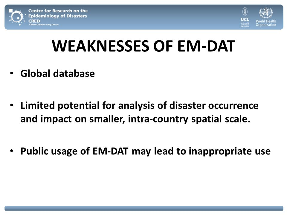 WEAKNESSES OF EM-DAT Global database