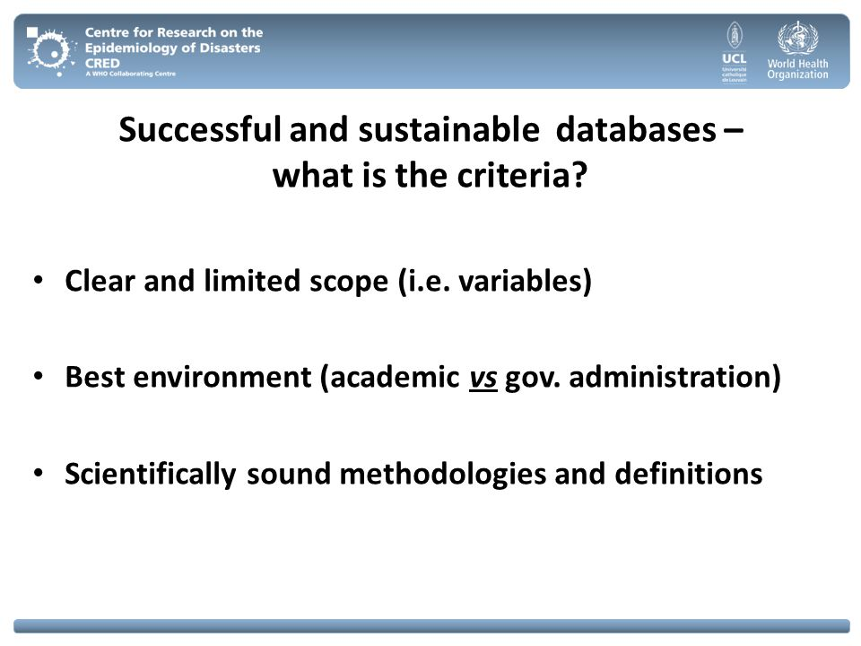 Successful and sustainable databases – what is the criteria