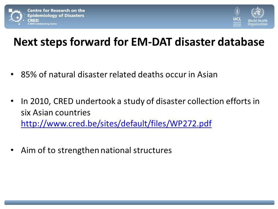 Next steps forward for EM-DAT disaster database