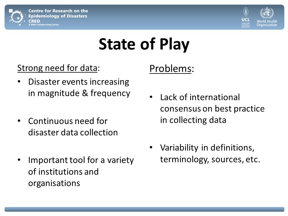 State of Play Problems: Strong need for data: