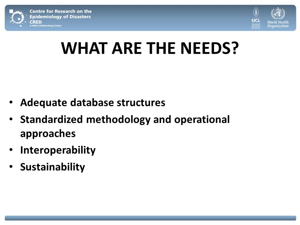 WHAT ARE THE NEEDS Adequate database structures