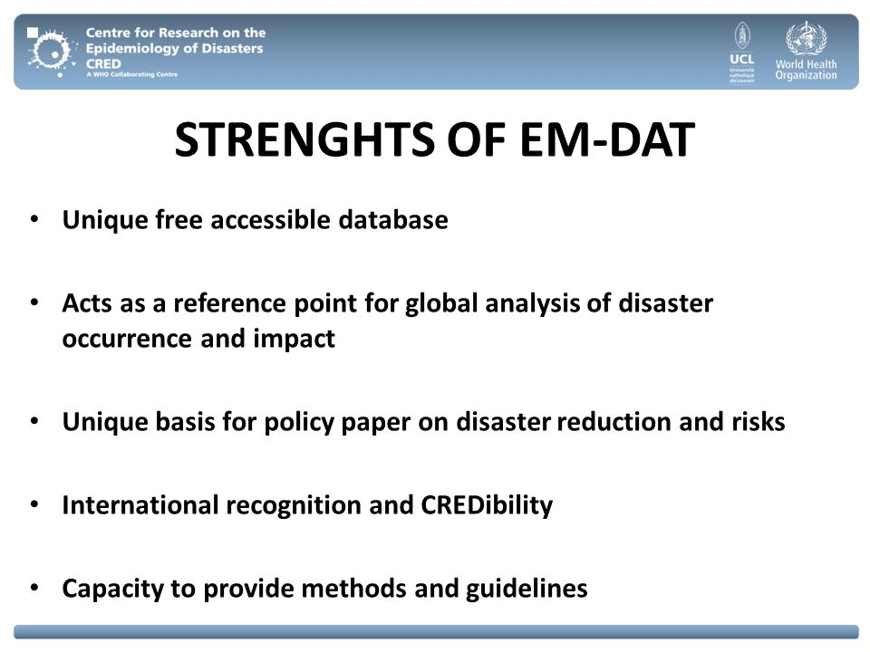 STRENGHTS OF EM-DAT Unique free accessible database