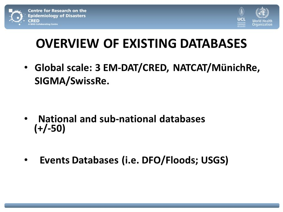 OVERVIEW OF EXISTING DATABASES