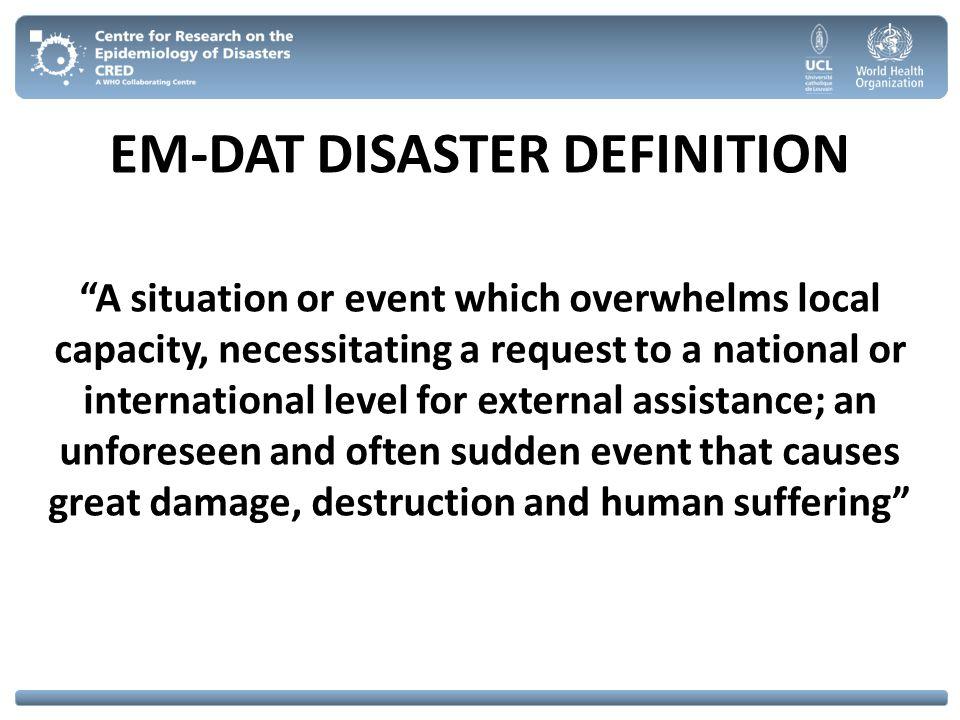 EM-DAT DISASTER DEFINITION