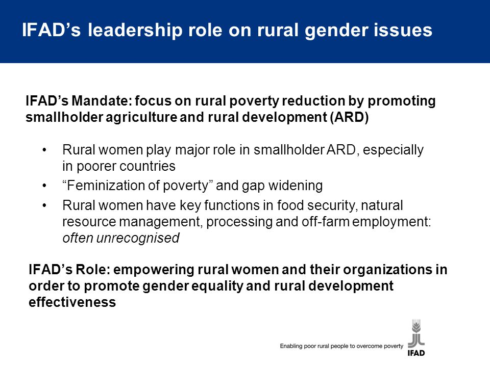 IFAD's leadership role on rural gender issues