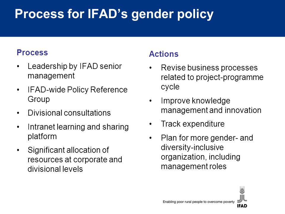Process for IFAD's gender policy