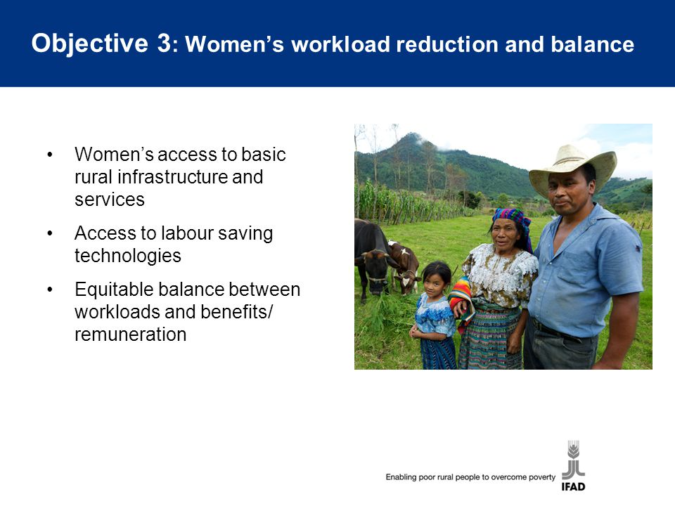 Objective 3: Women's workload reduction and balance