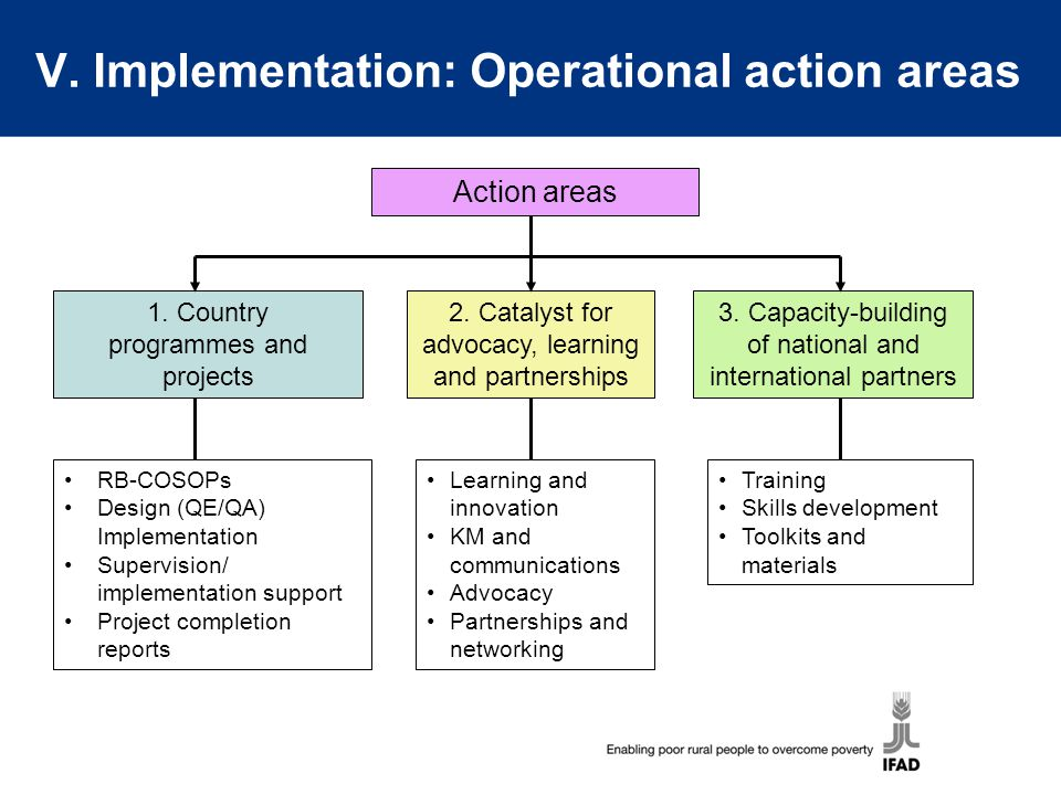 V. Implementation: Operational action areas
