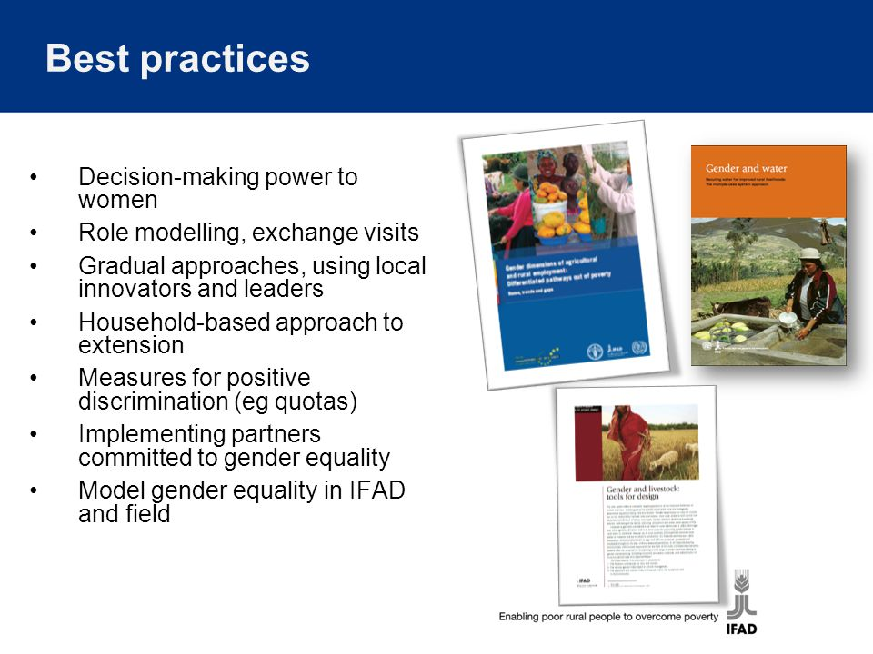 Best practices Decision-making power to women