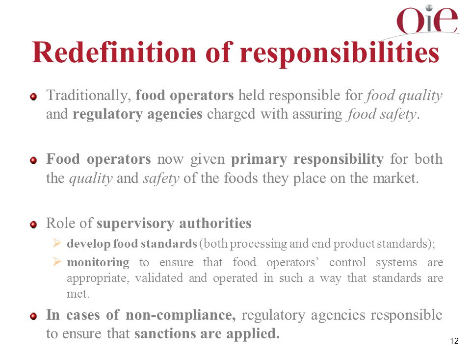 Redefinition of responsibilities