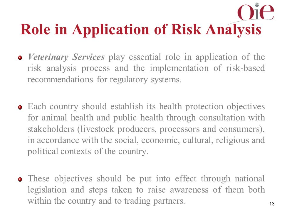 Role in Application of Risk Analysis