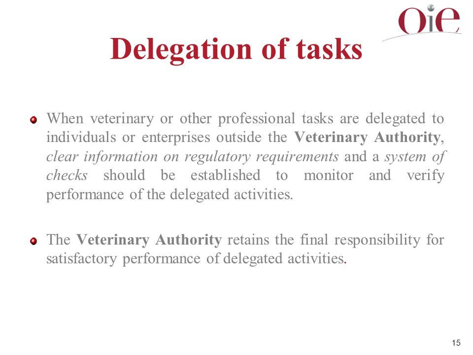 Delegation of tasks