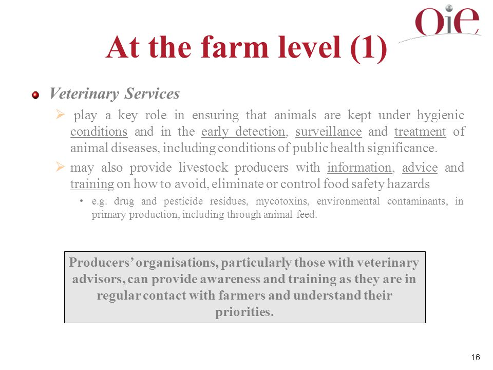 At the farm level (1) Veterinary Services