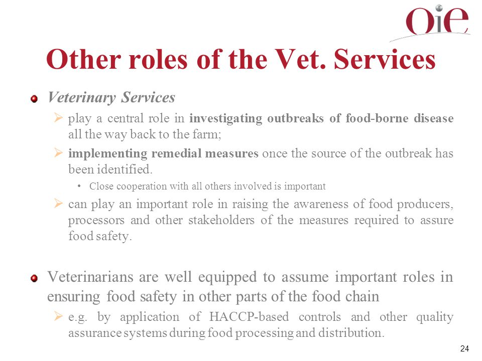 Other roles of the Vet. Services